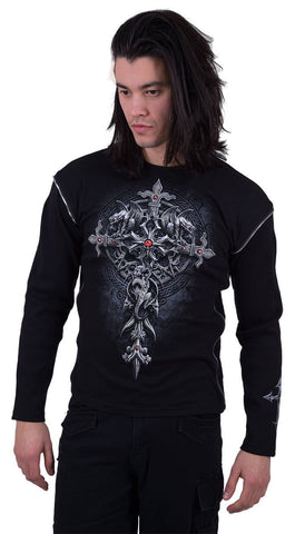 Image of CUSTODIAN - Zip Side Ribbed Gothic Longsleeve - Spiral USA
