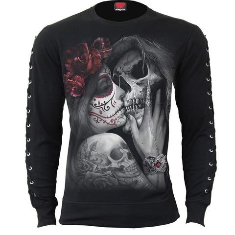 Image of DEAD KISS - Laceup Sleeve Gothic Top - Spiral USA