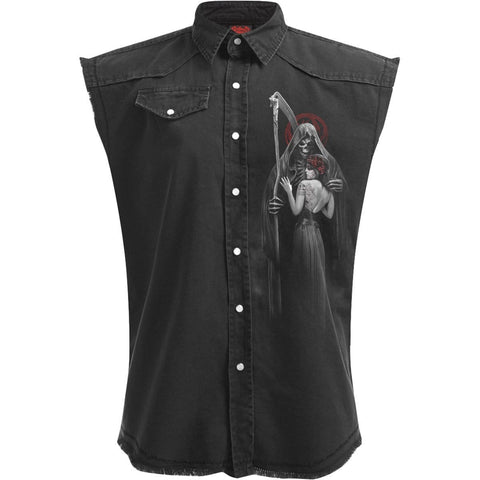 DEAD KISS - Sleeveless Stone Washed Worker Black