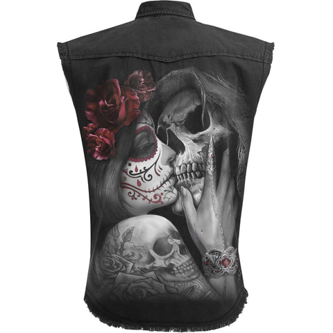 Image of DEAD KISS - Sleeveless Stone Washed Worker Black - Spiral USA