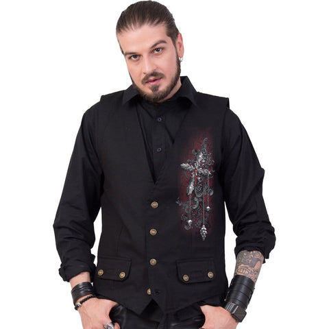CROSS OF DARKNESS - Gothic Waistcoat Four Button with Lining - Spiral USA