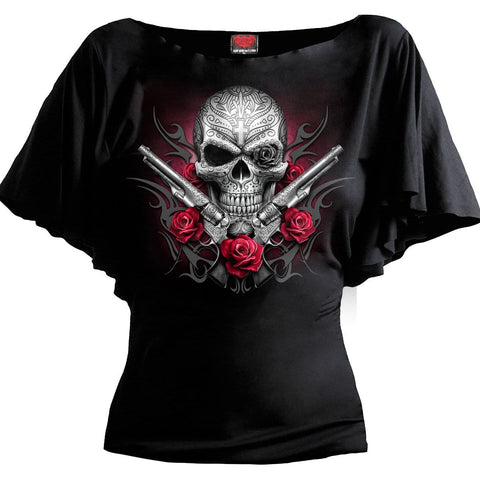 DEATH PISTOL - Boat Neck Bat Sleeve Top Black - Spiral USA