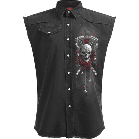 Image of DOTD BIKERS - Sleeveless Stone Washed Worker Black - Spiral USA