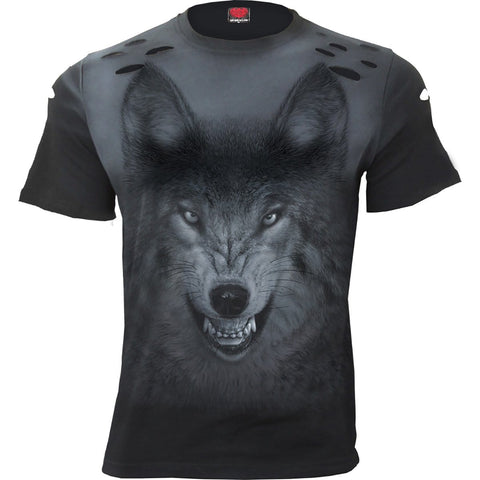 SHADOW WOLF - Distressed Spray On T-Shirt