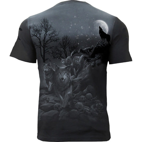 SHADOW WOLF - Distressed Spray On T-Shirt - Spiral USA