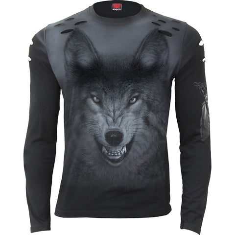 SHADOW WOLF - Distressed Spray On Long Sleeve - Spiral USA