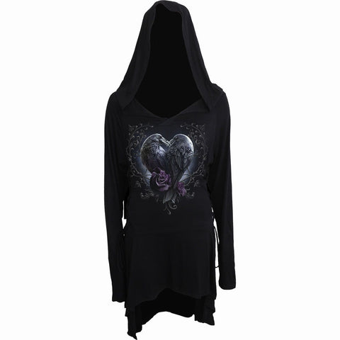 RAVEN HEART - Black Widow Gothic Hooded Dress - Spiral USA