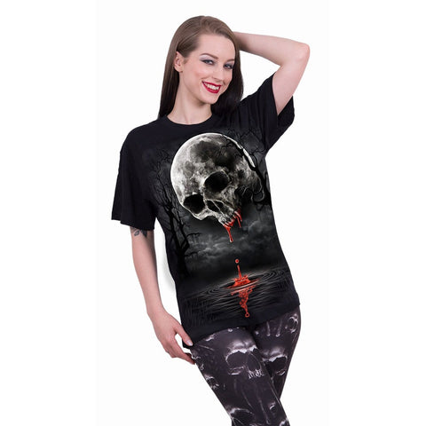 Image of DEATH MOON - Front Print T-Shirt Black - Spiral USA