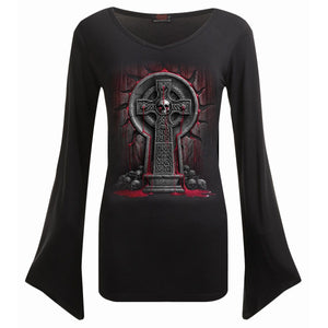BLEEDING SOULS - V Neck Goth Sleeve Top Black - Spiral USA