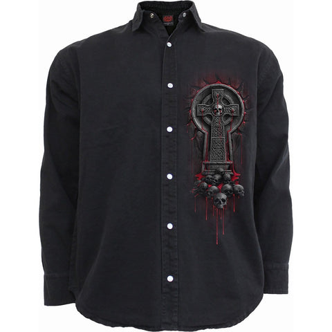 Image of BLEEDING SOULS - Longsleeve Stone Washed Worker Black - Spiral USA