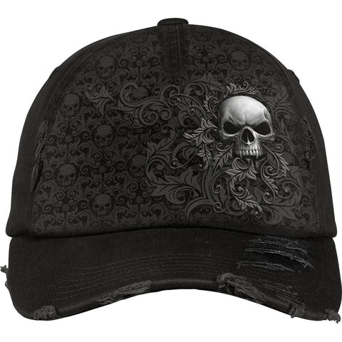 Image of SKULL SCROLL - Baseball Caps Distressed with Metal Clasp - Spiral USA