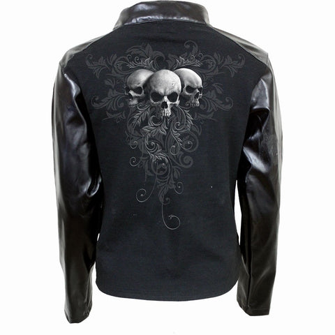 SKULL SCROLL - Pique Biker Jacket with PU Leather Sleeves - Spiral USA