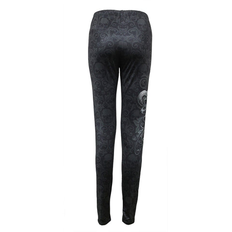 SKULL SCROLL - Allover Comfy Fit Leggings Black - Spiral USA