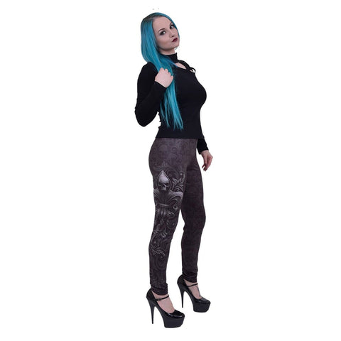 Image of SKULL SCROLL - Allover Comfy Fit Leggings Black - Spiral USA