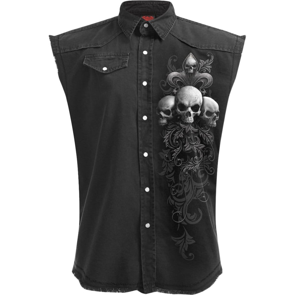 SKULL SCROLL - Sleeveless Stone Washed Worker Black - Spiral USA