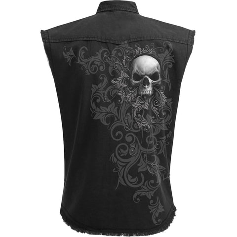 Image of SKULL SCROLL - Sleeveless Stone Washed Worker Black - Spiral USA