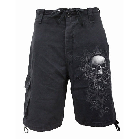 SKULL SCROLL - Vintage Cargo Shorts Black - Spiral USA
