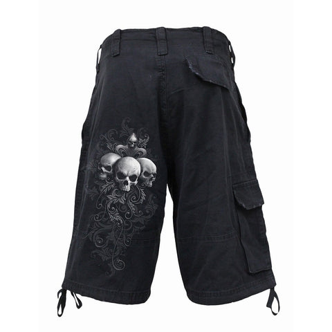 Image of SKULL SCROLL - Vintage Cargo Shorts Black - Spiral USA