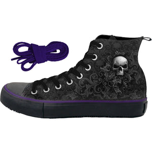 SKULL SCROLL - Sneakers - Ladies High Top Laceup - Spiral USA