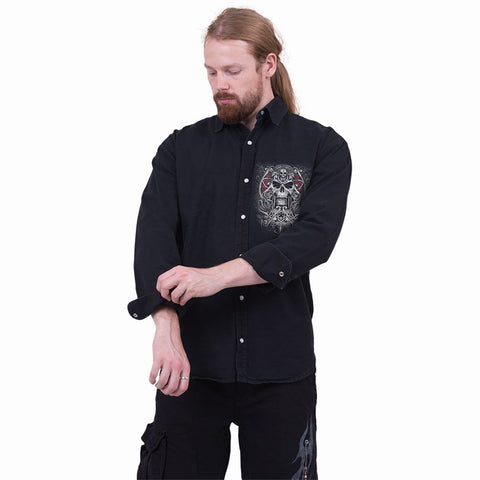 REAPER'S DOOR - Longsleeve Stone Washed Worker Black