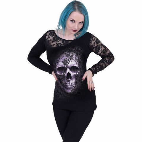 LACE SKULL - Lace One Shoulder Top Black
