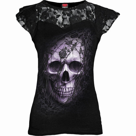LACE SKULL - Lace Layered Cap Sleeve Top Black