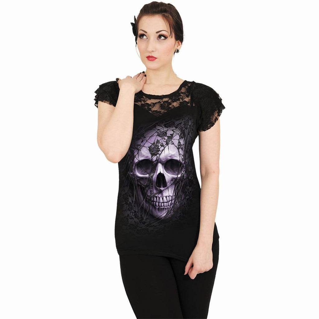 LACE SKULL - Lace Layered Cap Sleeve Top Black - Spiral USA
