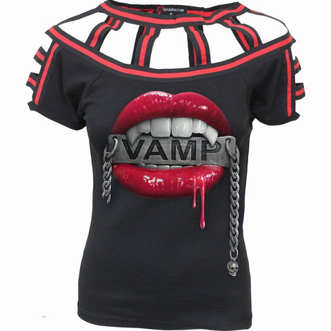 Image of VAMP - Red Web Neck Cap Sleeve Top Black - Spiral USA