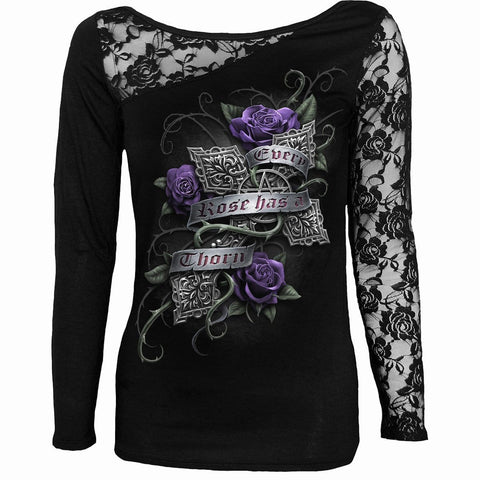 EVERY ROSE - Lace One Shoulder Top Black