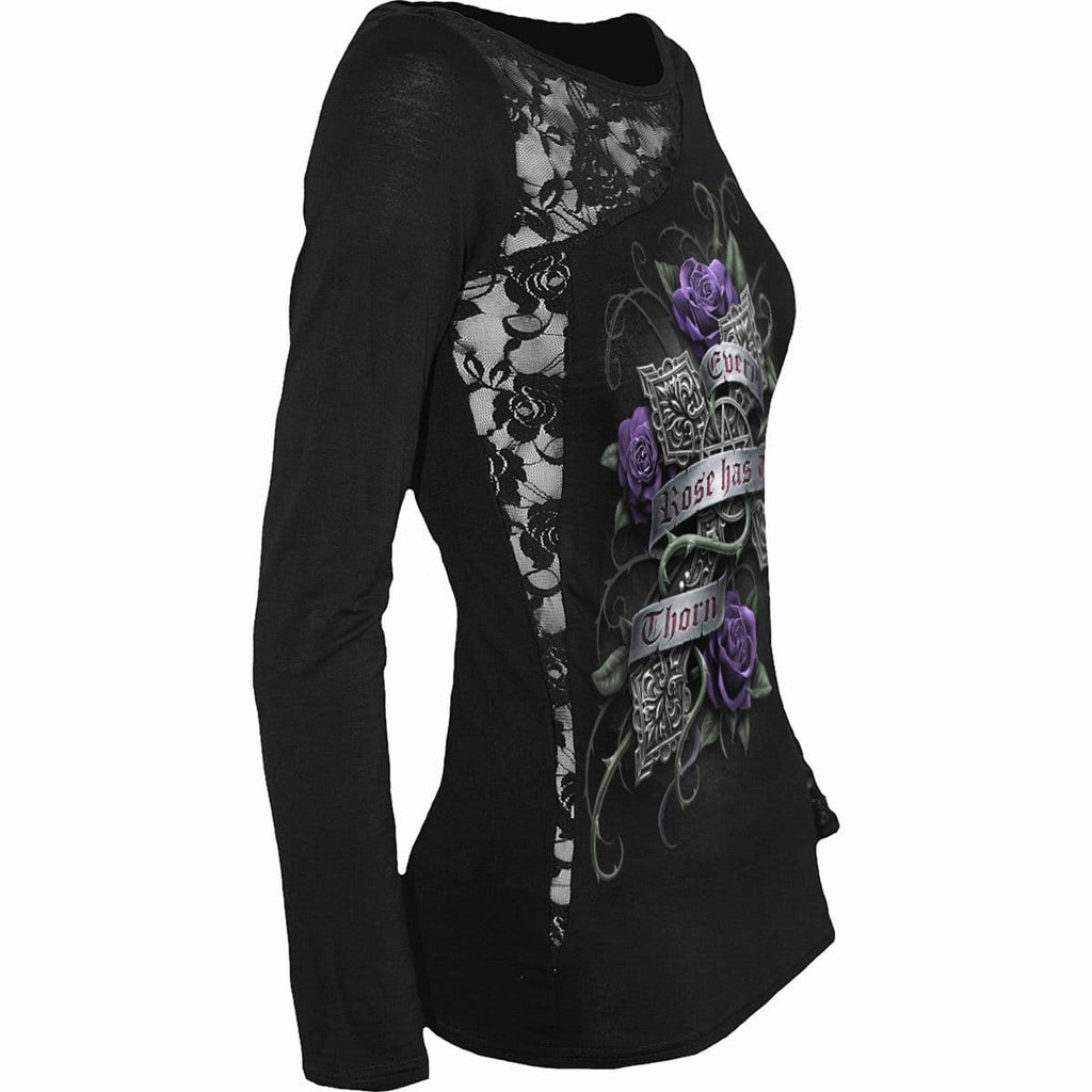 EVERY ROSE - Lace One Shoulder Top Black - Spiral USA