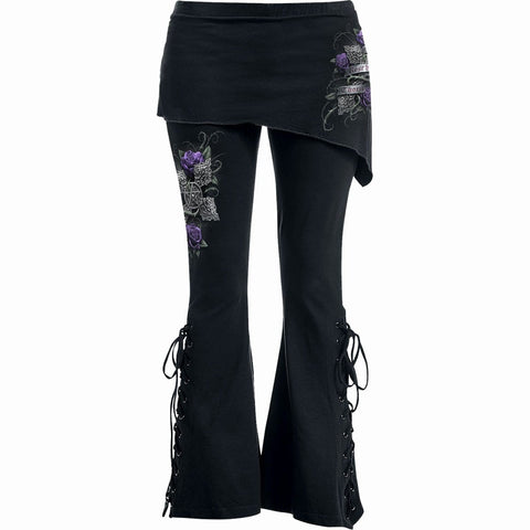 Image of EVERY ROSE - 2in1 Boot-Cut Leggings with Micro Slant Skirt - Spiral USA