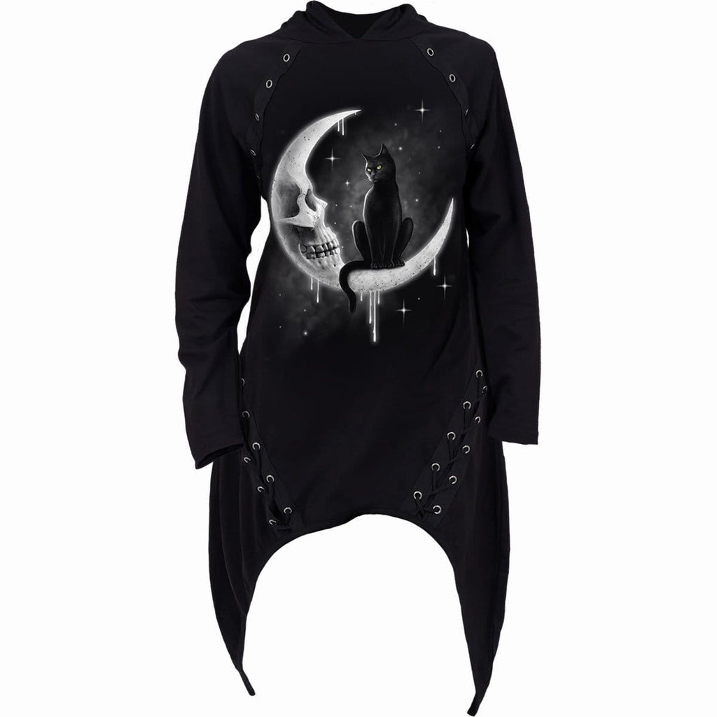 GOTHIC MOON - Laceup Sherwood Hoody with Teardrop Hem - Spiral USA
