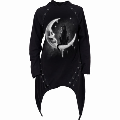 GOTHIC MOON - Laceup Sherwood Hoody with Teardrop Hem