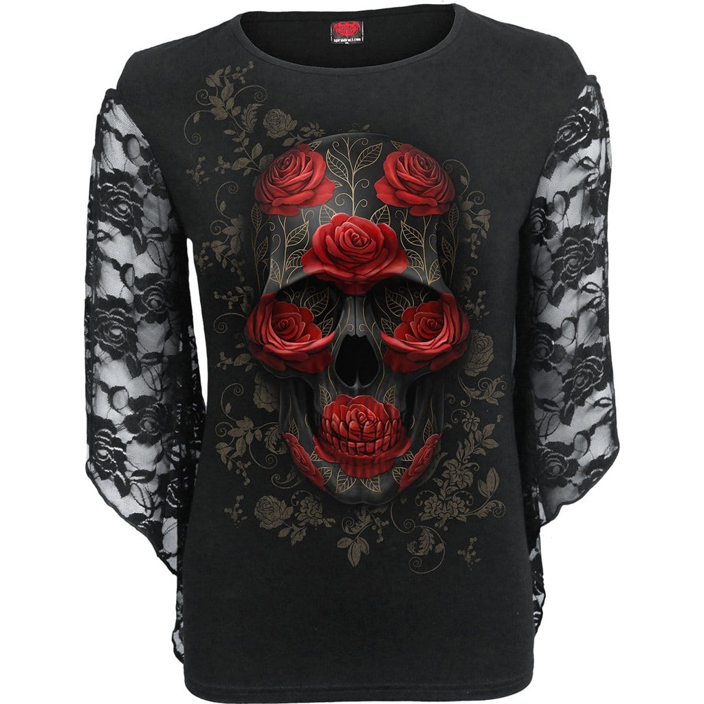 ORNATE SKULL - Rose Lace Sleeve Top - Spiral USA