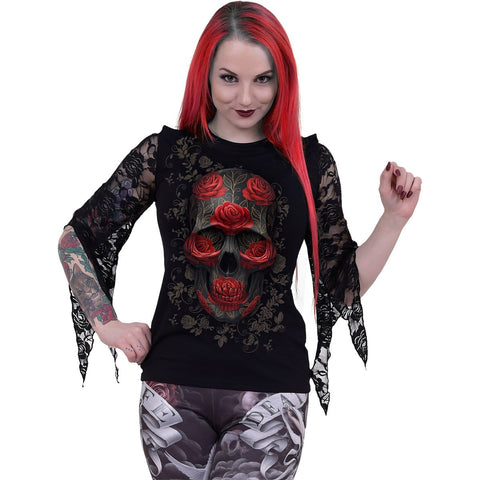 Image of ORNATE SKULL - Rose Lace Sleeve Top - Spiral USA