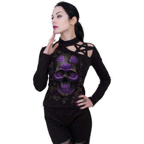 ORNATE SKULL - Pentagram Shoulder Longsleeve Top - Spiral USA