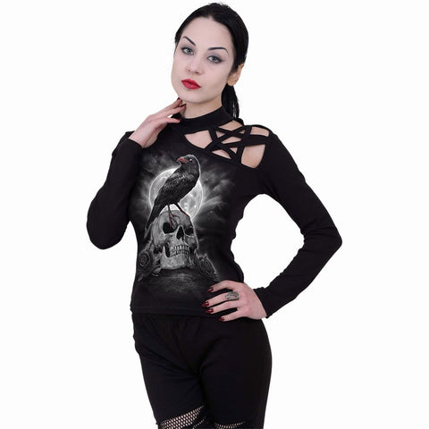 GRAVE WALKER - Pentagram Shoulder Longsleeve Top - Spiral USA
