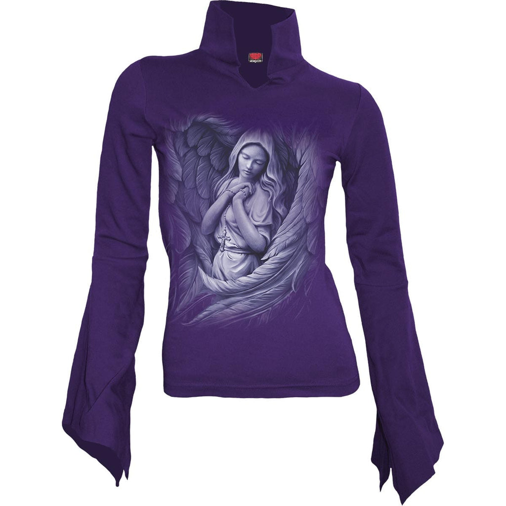SPIRIT WINGS - High Neck Goth Top Purple - Spiral USA