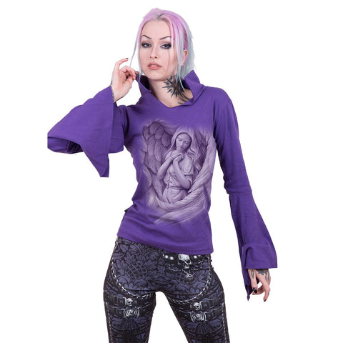 Image of SPIRIT WINGS - High Neck Goth Top Purple - Spiral USA