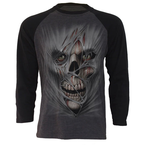STITCHED UP - Raglan Contrast Longsleeve Black Charcoal - Spiral USA