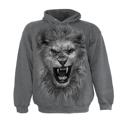 TRIBAL LION - Kids Hoody Charcoal - Spiral USA