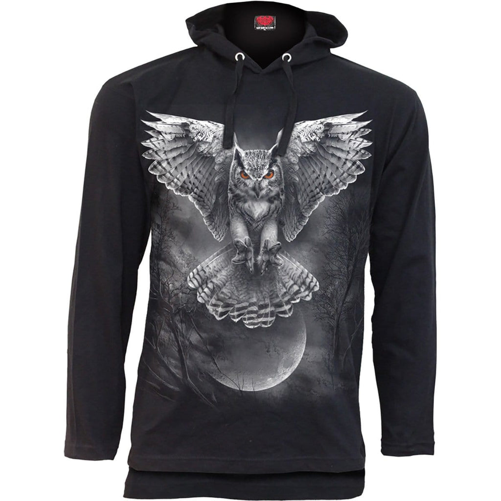 WINGS OF WISDOM - Fine Cotton Summer Hoody Black - Spiral USA