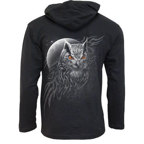 Image of WINGS OF WISDOM - Fine Cotton Summer Hoody Black - Spiral USA
