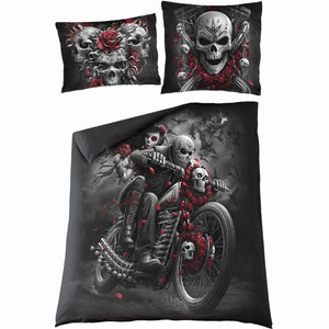 SKULLS N' ROSES - Double Duvet Cover + UK And EU Pillow case - Spiral USA