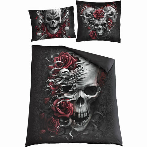 SKULLS N' ROSES - Double Duvet Cover + UK And EU Pillow case