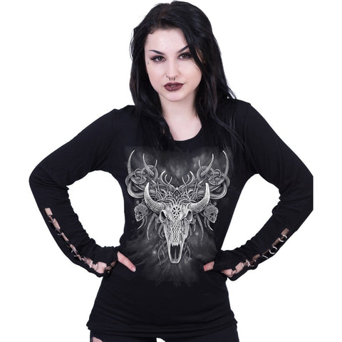 Image of HORNED SPIRIT - Buckle Cuff Long Sleeve Top - Spiral USA