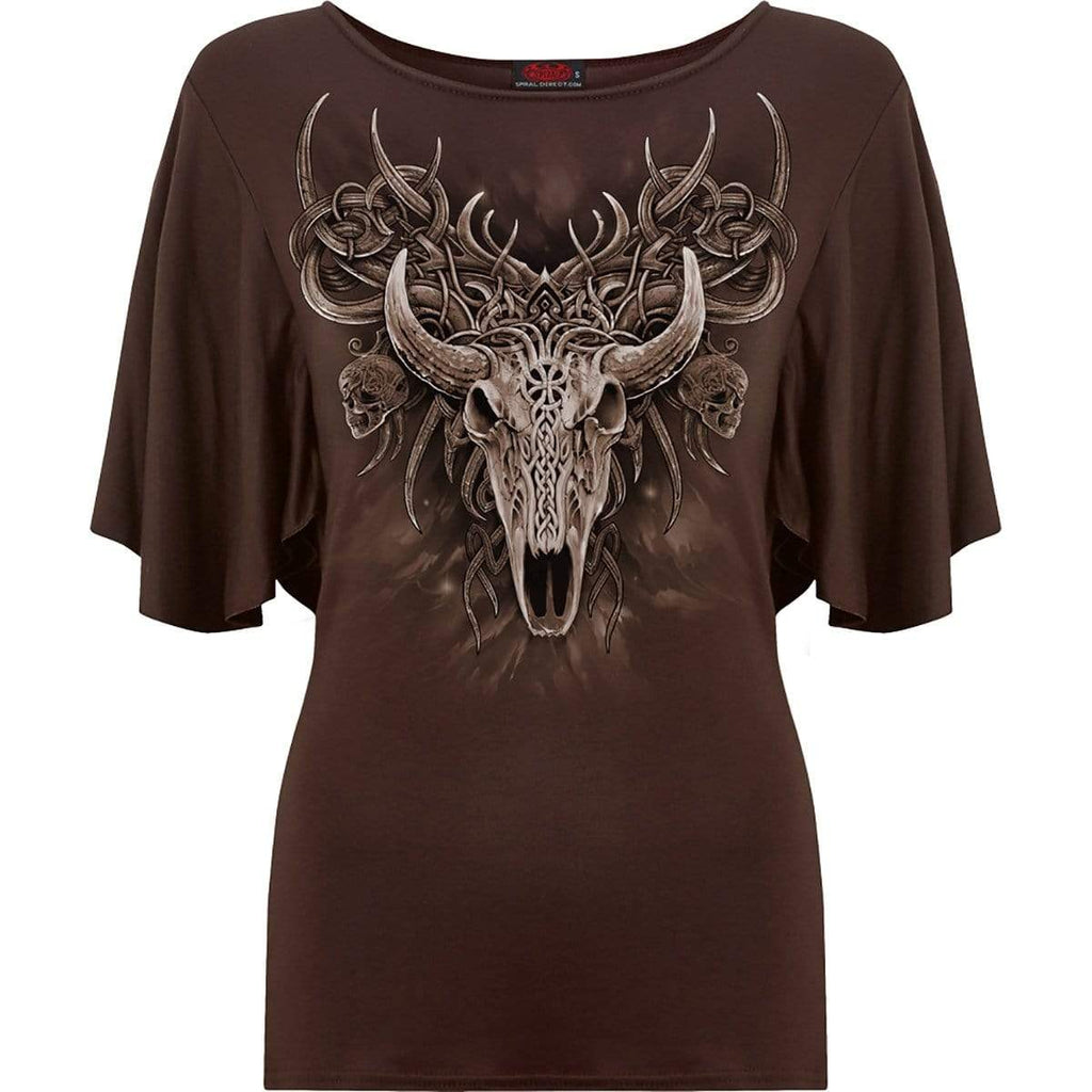 HORNED SPIRIT - Boat Neck Bat Sleeve Top Chocolate - Spiral USA