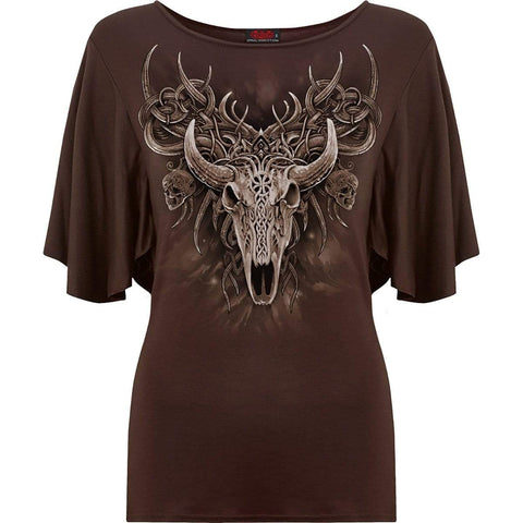 Image of HORNED SPIRIT - Boat Neck Bat Sleeve Top Chocolate - Spiral USA