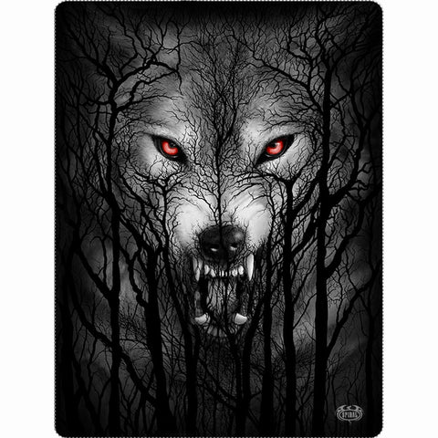 FOREST WOLF - Fleece Blanket with Double Sided Print - Spiral USA
