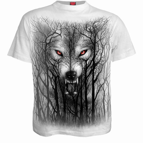 Image of FOREST WOLF - T-Shirt White - Spiral USA